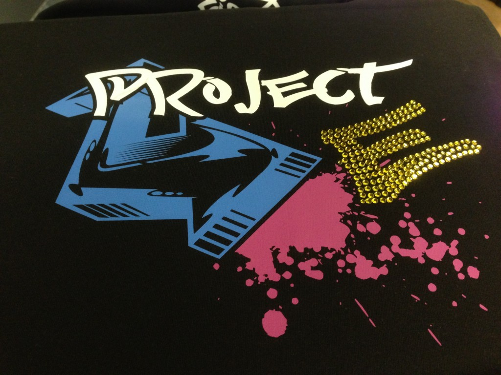 A colourful design for Dance Crew using vinyl and Rhinestones