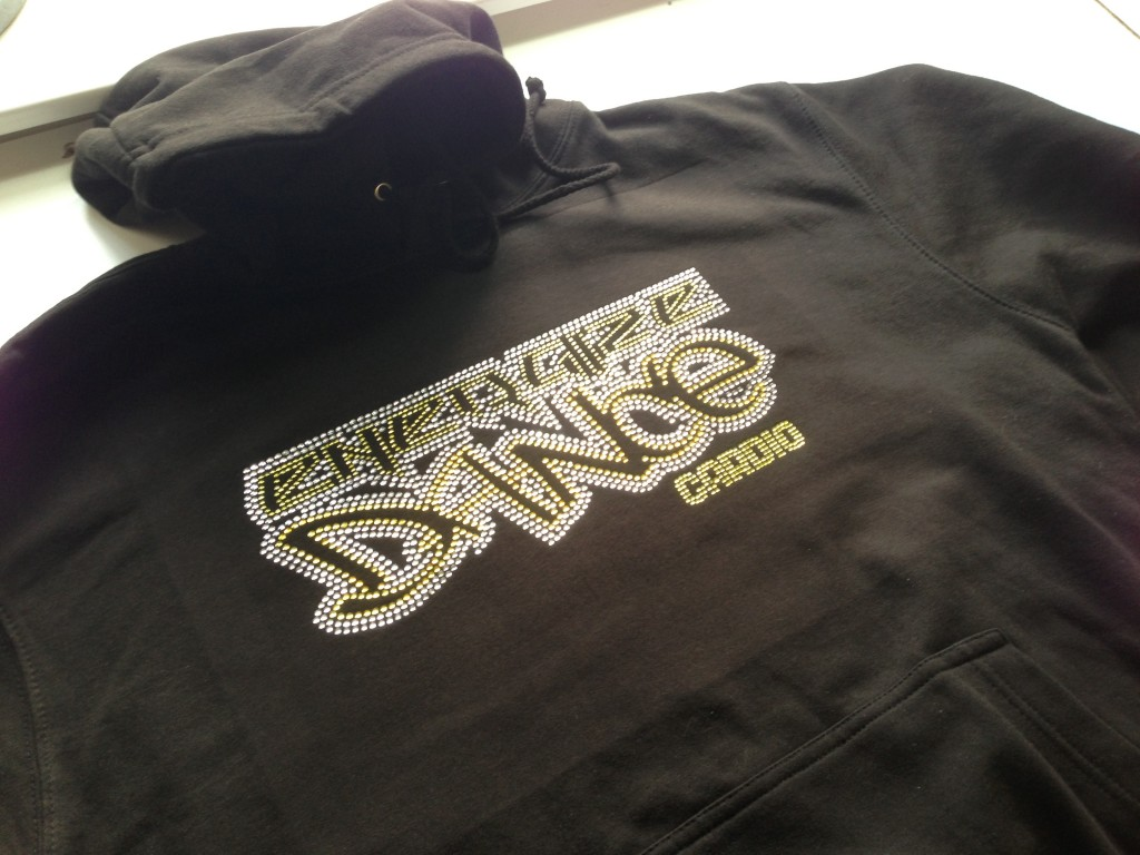 Full Rhinestone Logo in Crystal and Citrine Rhinestones for Energize Dance Club