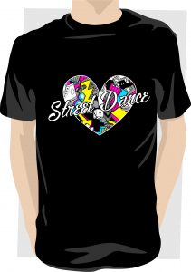 Love Street Dance Filled Heart Black T shirt