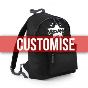 Black backpack with customise banner over the top
