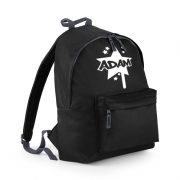 Black backpack with name on