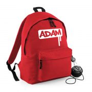 Red backpack with name on