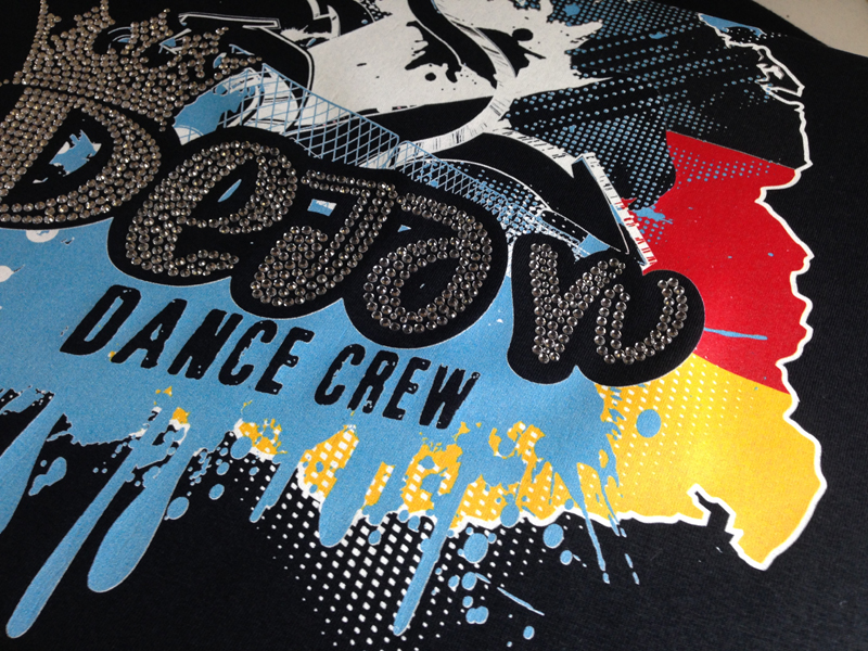 Close Up of DTG Rhinestone T-shirt design