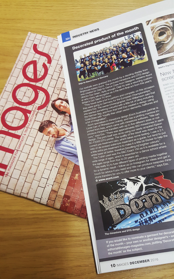 A photo of a magazine with dance school clothing article